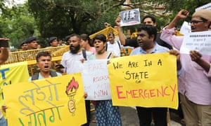 Activists protest against the arrests in New Delhi