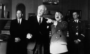 Max von Sydow as controversial Norwegian Nobel Laureate Knut Hamsun with Ernst Jacobi as Adolf Hitler in Hamsun, 1996