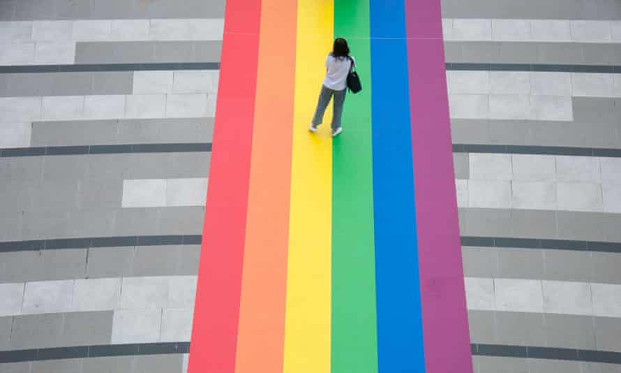 A rainbow flag outside a Bangkok shopping centre during this month's Pride celebrations.