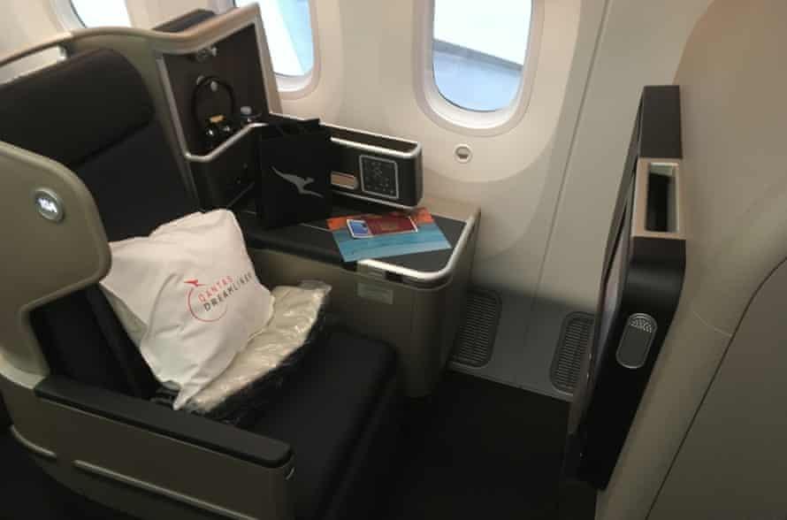 A business-class seat on Qantas flight QF9