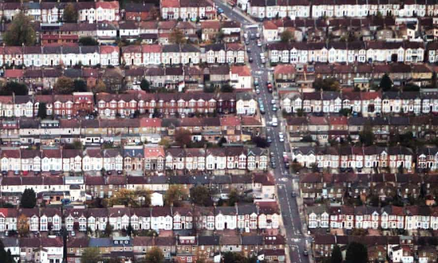 An aerial view of rows of terraced housing.
