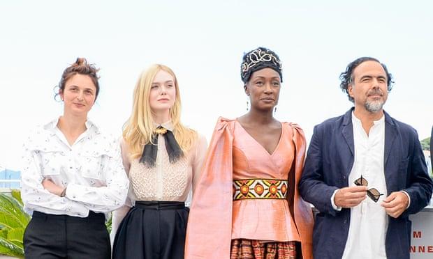 Cannes jury president Alejandro González Iñárritu, far right, with fellow jurors (from left) Alice Rohrwacher, Elle Fanning and Maimouna N'Diaye. Photograph: Stephane Cardinale/Corbis via Getty Images