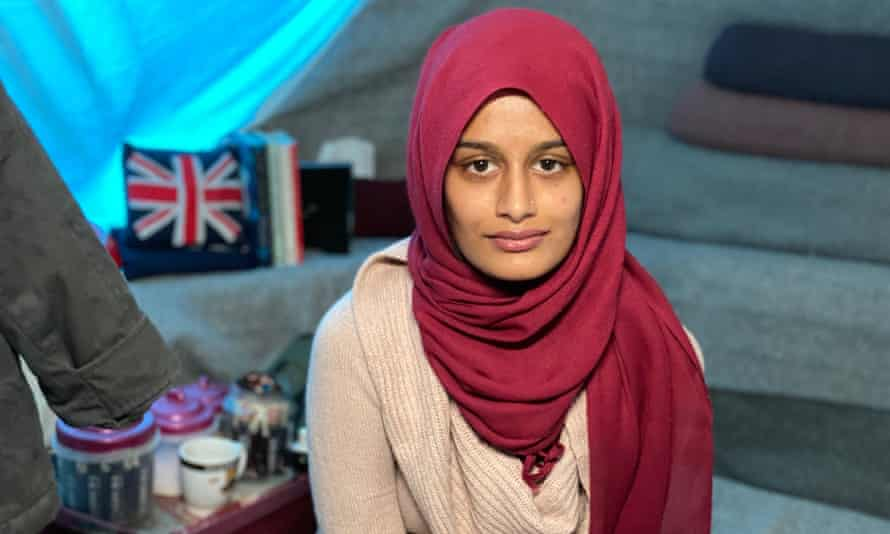 Shamima Begum in her tent in a Syrian refugee camp.