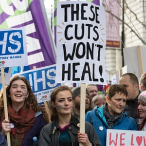 NHS student nurses and midwives protest against government cuts.