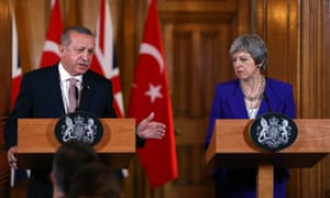 Turkey's President Erdoğan with UK prime minister Theresa May.