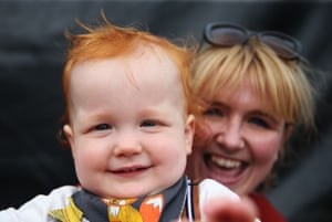 Winner of the 'Bonny Baby' award Charlie Twomey, 15 months, with his mother Vourneen