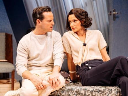 Andrew Scott and Indira Varma in Present Laughter at the Old Vic.