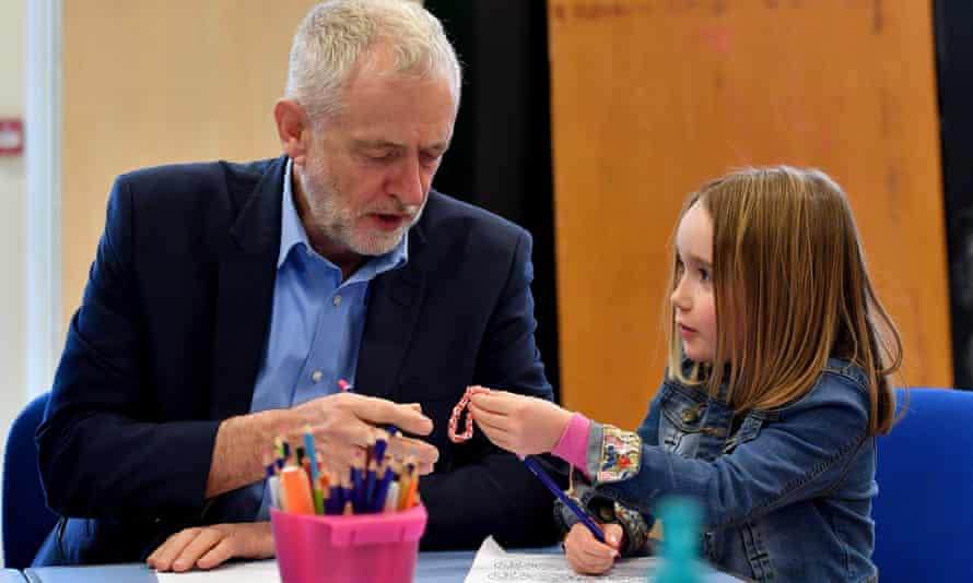 Jeremy Corbyn visits a children's holiday club in Leyland in April.
