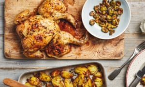 Thomasina Miers' spatchcocked lemon chicken with roasted green olives, thyme and potatoes.