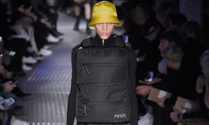 A model at Prada's show in Milan wears a design by Rem Koolhaus that was like a reverse jetpack