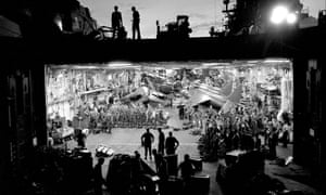 Royal Marines on board HMS Hermes as it sailed toward the Falklands as the flagship of the British task force.