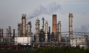 Oil refinery smoke stacks