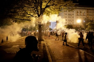Police deploy tear gas during a protest in Minneapolis.