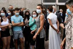 "Navarra, Spain Queen Letizia of Spain is seen arriving to ""EGA"" school to celebrate the opening of the School Course 20-21"