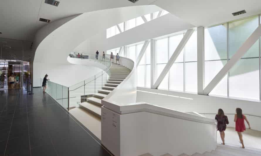 The pavilion's central atrium stairs.