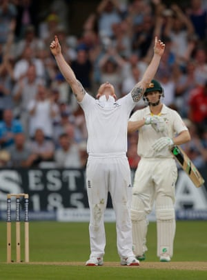 Ben Stokes celebrates getting his 5th wicket that of Mitchell Johnson