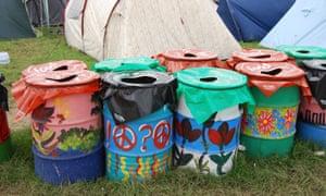 Glastonbury festival recycling bins