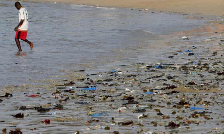 Plastic problem: a polluted beach in Senegal.