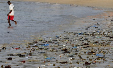 Plastic problem: a polluted beach in Senegal.
