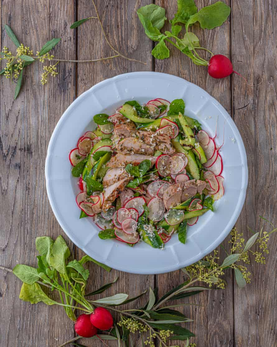 'If it's raining, I'd make this in a pan indoors': barbecue pork salad.