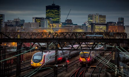Trains leave Manchester Piccadilly station