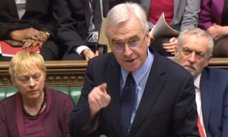 Shadow chancellor John McDonnell speaking in the House of Commons