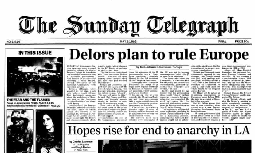 A Boris Johnson front-page story in the Sunday Telegraph.