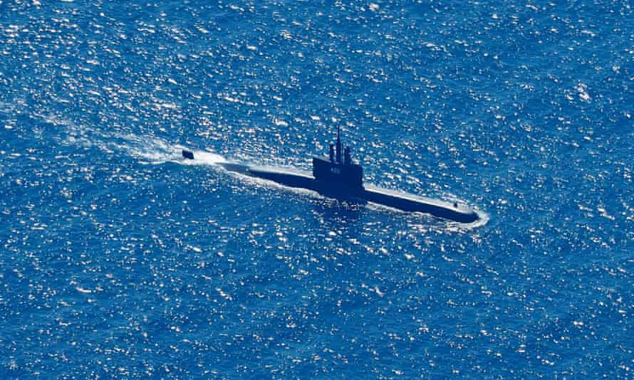 An Indonesian navy submarine searches for the missing KRI Nanggala north of Bali.