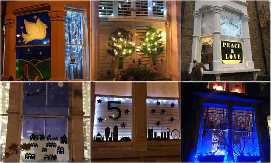 Windows 1-6: dove, Christmas trees, peace & love, starlit village, London skyline and polar bears.