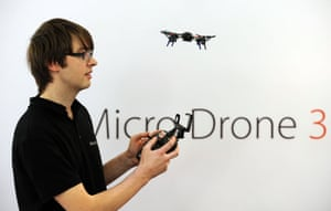Vernon Kerswell displays a Micro Drone 3