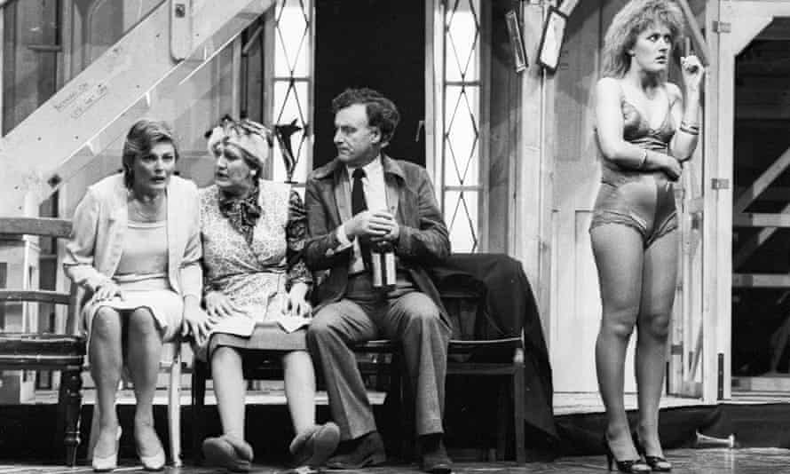 Fiendishly complicated … from left, Jan Waters (Belinda), Patricia Routledge (Dotty), Paul Eddington (Lloyd) and Rowena Roberts (Brooke) in Noises Off in 1982.