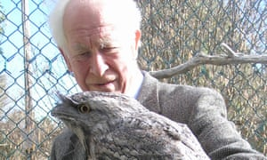Patrick Bateson in Armidale, New South Wales, with a tawny frogmouth before it was returned to its natural habitat.