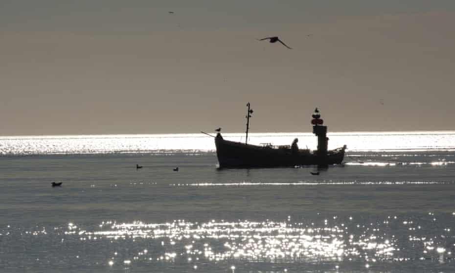 Lobster potting boat at dawn off Flamborough Head. Photograph: Kevin Rushby/Guardian