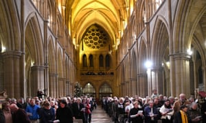 The congregation at the carols of the Cornish diaspora service, Truro Cathedral
