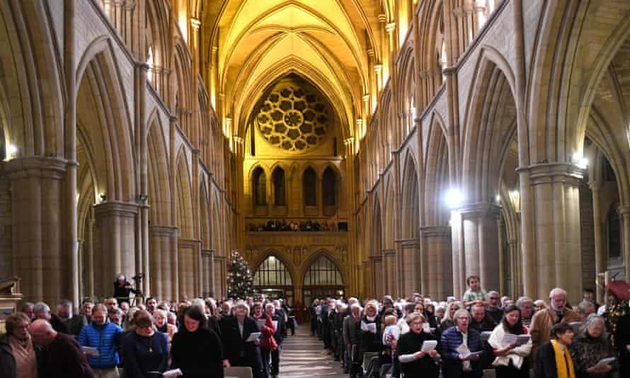 The congregation at the carols of the Cornish diaspora service, Truro Cathedral