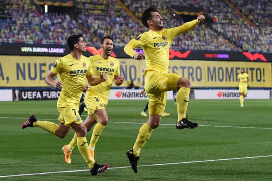 Manu Trigueros leaps for joy after scoring for Villarreal against Arsenal last Thursday.