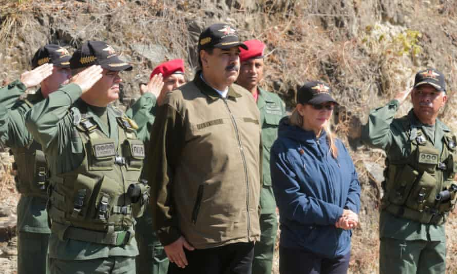 Nicolás Maduro attends a military parade in Caracas on Friday.