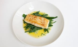 'If virtue is what you're after': halibut with green beans.