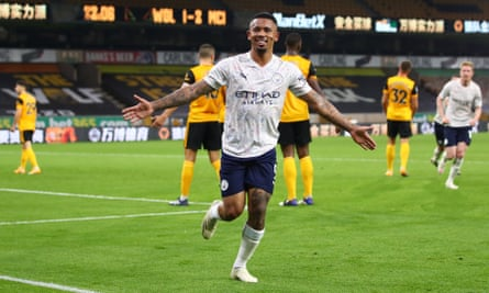 Gabriel Jesus celebrates after scoring Manchester City's third goal in injury time to see off Wolves at Molineux
