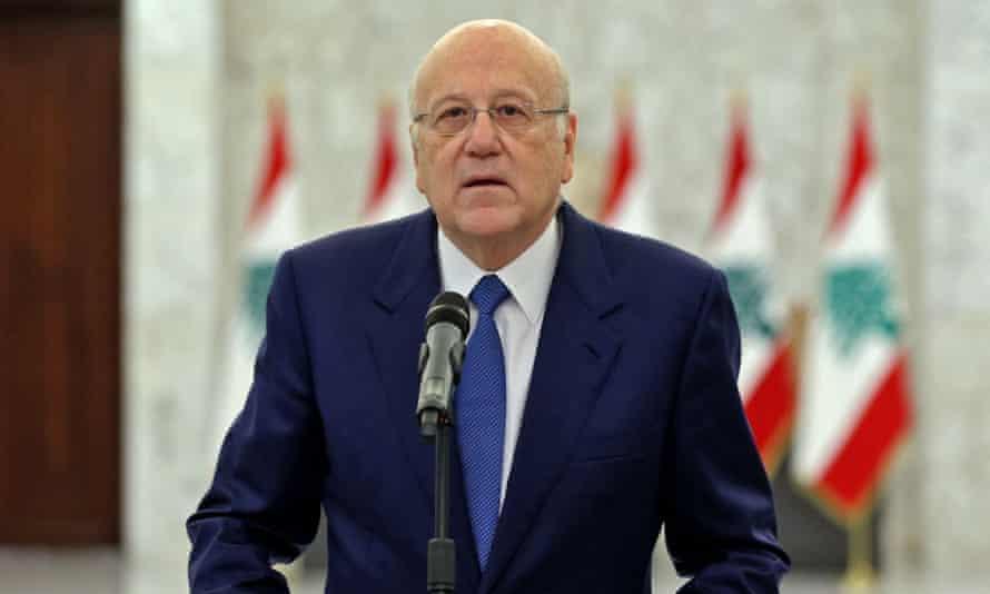 Prime minister-designate Najib Miqati announcing the formation of a new Lebanese government.