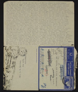 [Note: Letter, Doris Lessing to Coll Macdonald, 4/4/1945. 2 leaves. Typescript. Typed on recto and verso. 2 lettercards addressed to Pilot Officer Coll Macdonald c/o J.R.M. Whitehorn, R.A.F., H.Q., M.E.F. Written on 4/4/1945, stamped 5/4/1945.