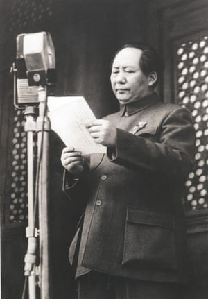 Chairman Mao solemnly proclaims the founding of the People's Republic of China on the Tiananmen Square Gate rostrum in Beijing, China, on 1 October, 1949.