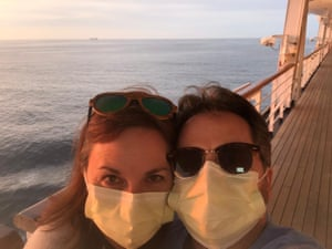 Laura and her husband, Juan Huergo. Passengers were allowed 30 minutes to walk on Wednesday, the first time the couple had left their cabin in three days.