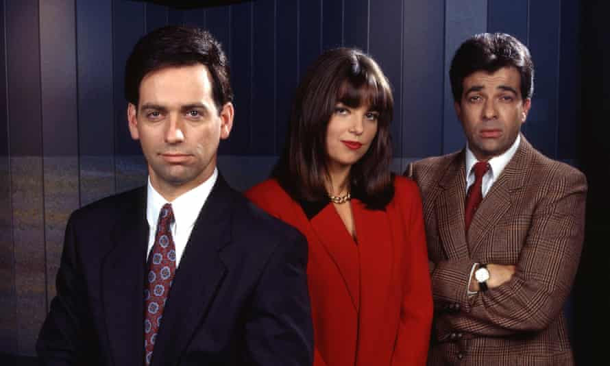 Rob Sitch as host Mike Moore, Jane Kennedy and Tiriel Mora as reporters Brooke Vandenberg and Martin di Stasio in the ABC TV comedy series Frontline