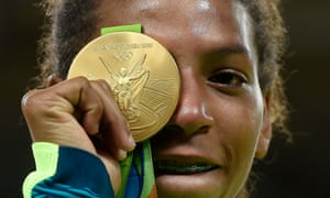 Rafaela Silva with her gold medal