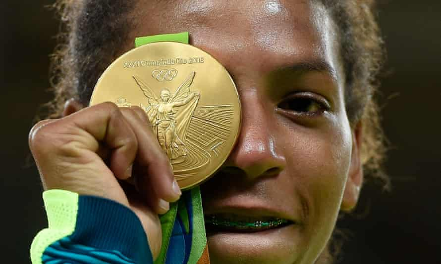 Rafaela Silva with her gold medal