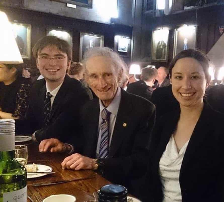 Australian astrophysicist Benjamin Pope (L) meeting Robert May in 2015 at Oxford.