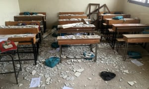 The school in Anjara hit by an airstrike