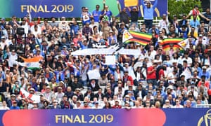 Fans who managed to get a ticket for the Cricket World Cup final.