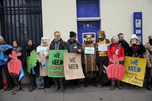 Activists form a human chain in Paris, France